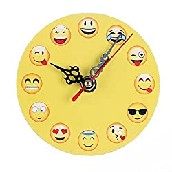 Yeefant Silent Sweep Emoji Emoticon Bell Desk Creative Travel Cute Portable Desk Creative Digital Alarm Wall Clock Cute Portable Clock Decor for Living Room Bedroom