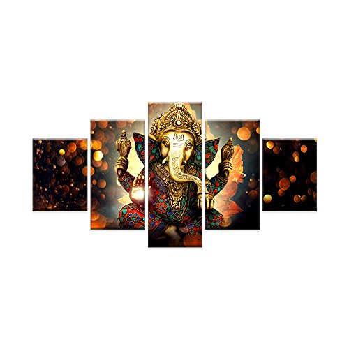 Canvas Painting Wall Art Home Decor For Living Room HD Prints 5 Pieces Elephant Trunk God Modular Poster Ganesha Pictures Wooden Bar Frame Ready to Hang (Art Elephant Metal)