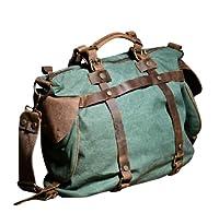 Kingdo Women's Vintage Canvas Leather Shoulder Messenger Bag Tote for School Duffle Satchel Crossbody Handbag