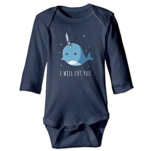 Narwal I Will Cut You Infant Baby Girls Boys Clothes Long Sleeve Bodysuit Romper Jumpsuit Cartoon Pint