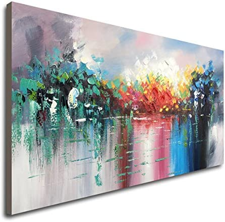 Large Abstract Landscape Canvas Wall Art Hand Painted Modern Oil Paintings Lake Scenery Artwork