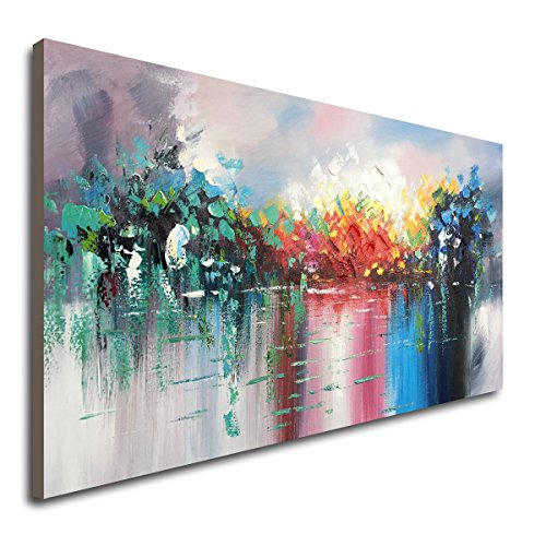(Large Abstract Landscape Canvas Wall Art Hand Painted Modern Oil Paintings Lake Scenery Artwork )