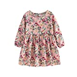 squarex Baby Girls Dress Long Sleeve Princess Party Pageant Dresses Kids Clothes (10-11Years, Pink)