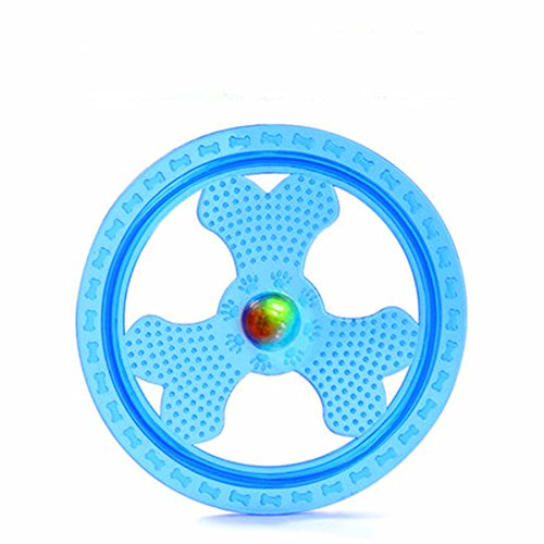 Wandrola Flying Disc Dog Sport Toy with Flashing LED Lights, Light Up Pet Disk for Ultimate Night Time Play, Blue