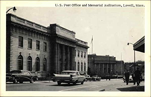 U. S. Post Office and Memorial Auditorium Lowell, Massachusetts Original Vintage Postcard