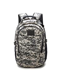 Huntvp Military Tactical Backpack Rucksack Gear Assault Pack Student School Bag with USB Port (ACU Camouflage)