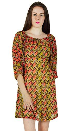 Frauen Sundress Kleid Gedruckt Baumwollbeiläufigen Sommer-Strand Olivgrün und Lachs T6hEETl89v