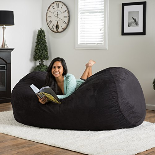 Great Deal Furniture Haley 6 Ft Faux Suede Microfiber Bean Bag (Black) (Chair Suede Microfiber)