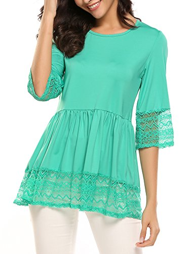 SoTeer Womens Casual 3 4 Sleeve Cute Babydoll Ruffle Flare Lace Tunic Tops T Shirts Loose Blouse Green S