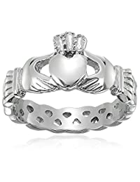 ELYA Jewelry Womens Stainless Steel Claddagh with Celtic Knot Promise Ring