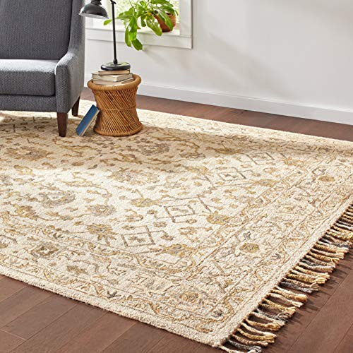 Stone & Beam Lottie Traditional Wool Area Rug, 8 x 10 Foot, Beige (Rugs Area Neutral Wool)