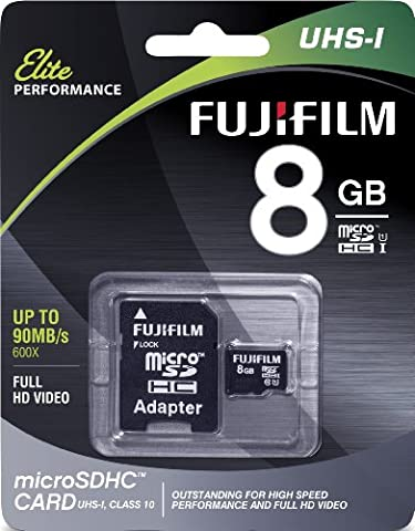 Fujifilm Elite 8GB microSDHC Class 10 UHS-1 Flash Memory Card 600x / 90MB/s (High Megapixel Phone)