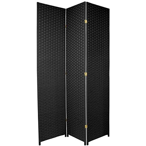 Oriental Furniture 7 ft. Tall Woven Fiber Room Divider - Black - 3 Panel ()