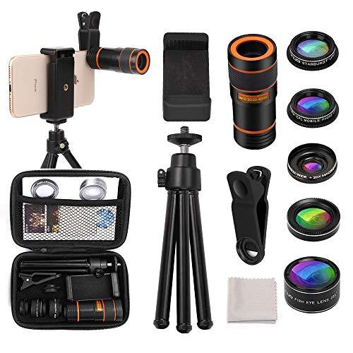 Cell Phone Camera Lens Kit OUNUO 6 in 1 Kit 12X Zoom Telephoto Lens 235° Fisheye Lens 0.62X Wide Angle Lens 20X Macro Lens Professional CPL Lens Starburst Lens Phone Holder Tripod