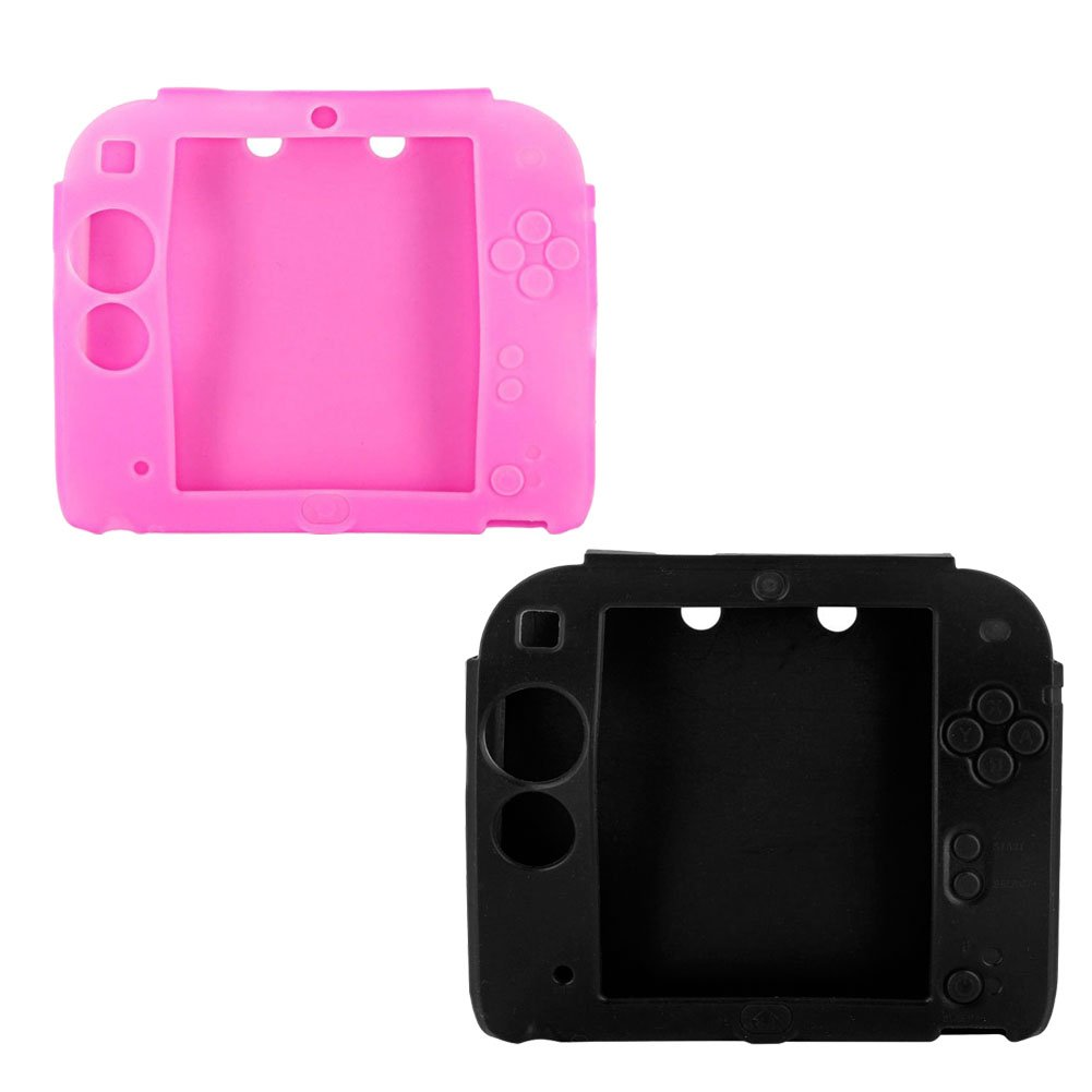 2Packs Protective Soft Silicone Rubber Gel Skin Case Cover for Nintendo 2DS (BL+PI)
