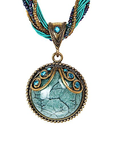 LNKRE JEWELRY Retro Bohemian Style Cat's Eye Stone Collar Necklace Pendant(Blue)