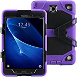 Galaxy Tab A 9.7 Case KIQ TM Full-body Shock Proof Hybrid Heavy Duty Armor Protective Case for Samsung Galaxy Tab A 9.7 [SM-T550] with Kickstand and Screen Protector (Rugged Purple)
