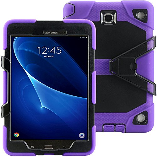 Galaxy Tab A 9.7 Case KIQ TM Full-body Shock Proof Hybrid Heavy Duty Armor Protective Case for Samsung Galaxy Tab A 9.7 [SM-T550] with Kickstand and Screen Protector (Rugged Purple) by KIQ