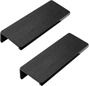 "Mecion 2 Pcs 95mm/3.74"" Finger Edge Pull Cabinet and Furniture Concealed Handle Black"