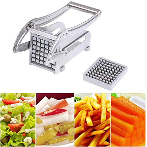 2 Blades Stainless Steel Home French Fries Potato Chips Strip Slicer Cutter Chopper Chips Machine Making Tool Potato Cut ()
