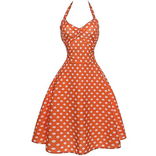 Halter Vingtage Partito Grattacieli Coolred Picnic Hepburn As1 '50 Dress donne I6wq4