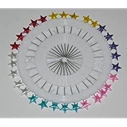 30 Multicolored Star Hijab Straight Pins