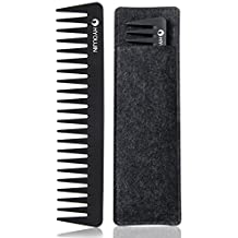 HYOUJIN 601 Black Carbon Wide Tooth Comb,100% Anti static 230℃ Heat Resistant,Detangling Comb,Detangler Hair Comb for Long Wet hair Hair Straighten Curly Hair