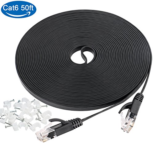 50ft Ethernet Cable,Cat6 Flat Slim Internet Patch Cable with Snagless RJ45 Connectors & Free Clips,High Speed faster than Cat5e Cat5 Computer Lan Wire for Modem,PS4, Xbox,Desktop Switch,Router, Black