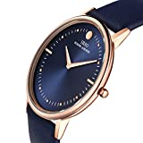 IBSO Two Analog Ultra Thin Gold Bezel Genuine Leather Belt Wrist Watch for Men Blue