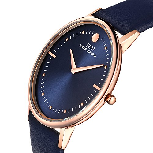 IBSO Two Analog Ultra Thin Gold Bezel Genuine Leather Belt Wrist Watch for Men Blue (Movement Watch Swiss)