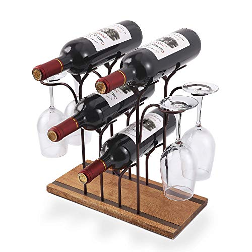 Tabletop Wood Wine Holder, Countertop Wine Rack, Perfect For Home Decor & Kitchen Storage Rack, Bar, Wine Cellar, Cabinet, Pantry, etc ,Hold 4 Wine Bottles and 4 Wine Glasses, Wood & Metal (Bronze)
