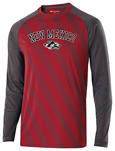 Ouray Sportswear NCAA New Mexico Lobos Youth Torpedo Long Sleeve Tee, Small, Scarlet/Carbon