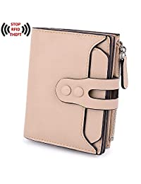 UTO Women's RFID Blocking PU Matte Leather Wallet Card Holder Organizer Girls Coin Purse with Snap Closure