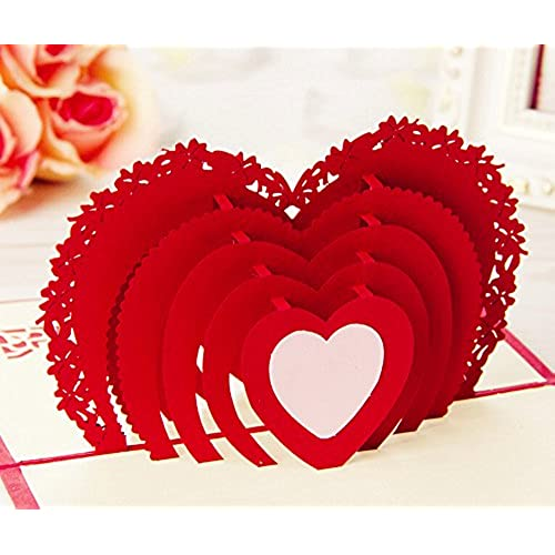 Omall (TM) 10x15cm Heart-shaped 3D Pop-up Greeting Card By Chinese Paper-Cut Art Greeting card for Valentine's Day Wedding Sales