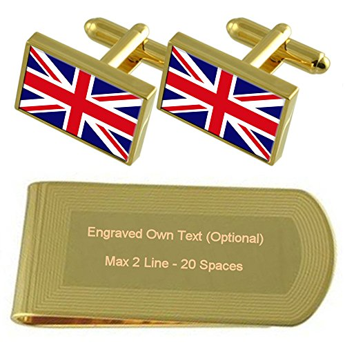 Money Set Engraved Britain Gold Gift Flag Clip tone Cufflinks pI6q1