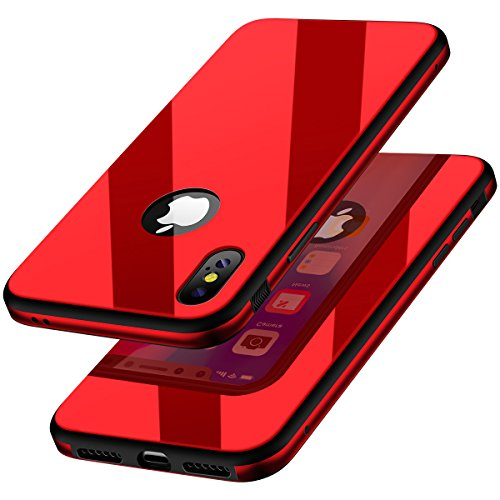 KADES Compatible for iPhone X Case Protective Tempered Glass Case with Premium Shockproof and Anti-Scratch Phone Case Compatible for Apple iPhone X - Ruby [Upgrated Version]