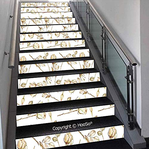PUTIEN Stair Decals Sticker Stick Stair Risers Sticker Decor for Home, Hotel, Vinyl Staircase Stickers, PVC Stickers,Aquarium with Seashell Octopus Stones Water Bubbles Funny Ca,39.3