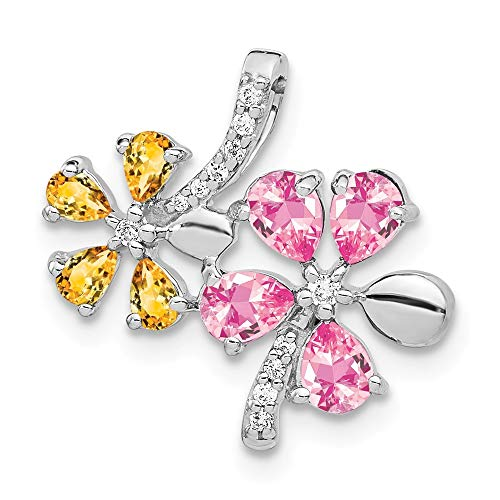 14k White Gold Diamond and 1.19 Citrine/pink Tourmaline Flower -