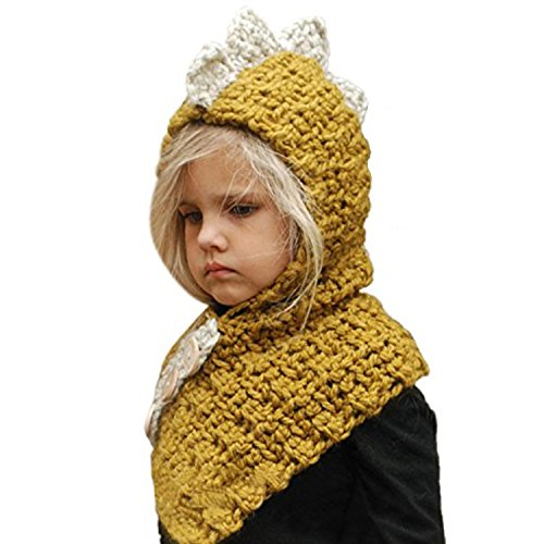 a5121add8f9 Jenny Shop Winter Kids Warm Fox Dinosaur Animal Hats Knitted Coif Hood  Scarf Beanies for Autumn Winter (Yellow