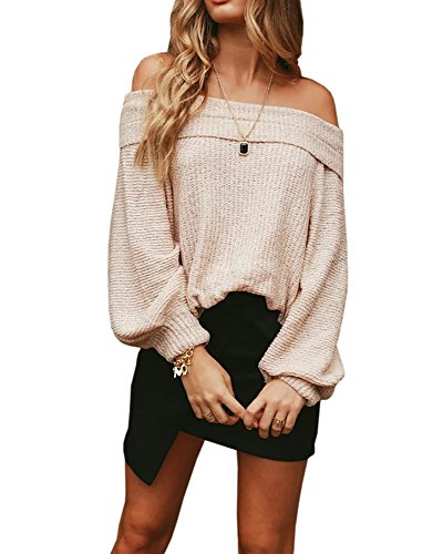 Off Shoulder Knit Sweater Top (Womens Sweaters Off The Shoulder Slouchy Oversized Long Sleeve Knit Pullover Sweater Tunic Tops)
