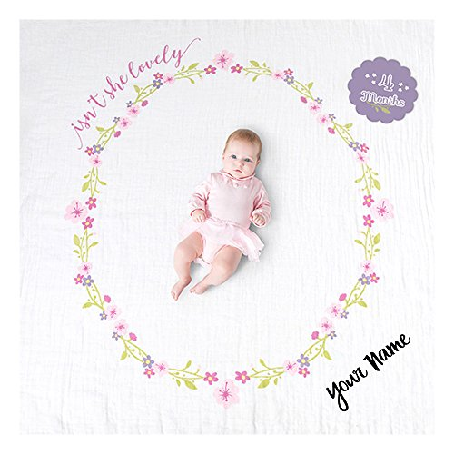 Month Card (lulujo Personalized Baby's First Year Isn't She Lovely Floral Print Growth Blanket and Month Milestone Cards Set with Name)