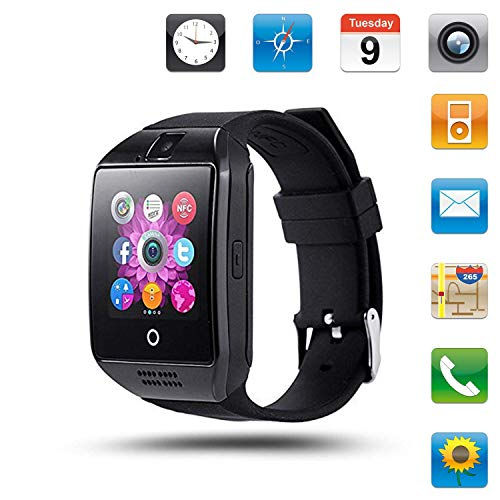 Smartwatch with Camera & Music Remote for Android - Smart Watch Fitness Tracker with Heart Rate & Blood Pressure & for Women Men (Black)