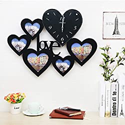 TNKML Large Indoor Decorative Wall Clock Love Heart-Shaped Photo Frame Classic Living Room Kitchen Wedding Room Country Mute Clock Creative Clocks Creative Clocks, Black