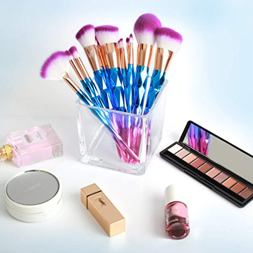 Ksun 12 Pieces Unicorn Mermaid Brush Set Make Up Rainbow Diamond Handle Makeup Brushes Set Foundation Cream Powder Brush Kit