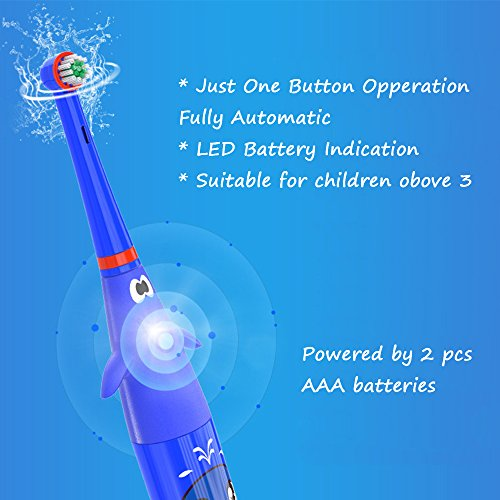 Hermano Kids Electric Toothbrush, Battery Powered Electronic Sonic Toothbrush with 2 Replacement Heads for Children, Blue by Hermano (Image #7)
