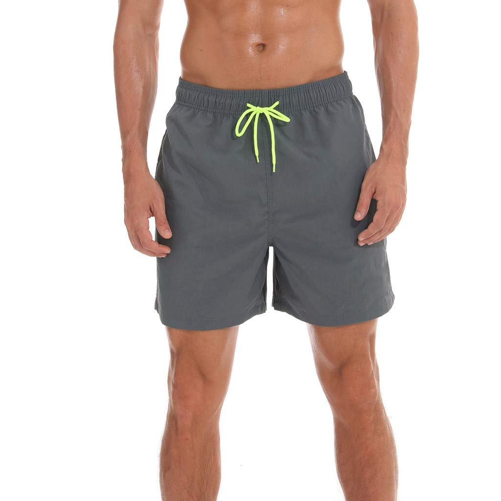 F_Gotal Men's Swim Trunks Quick Dry Board Shorts Solid Waist Swimming Shorts with Pockets Beach Swimwear Bathing Suits Gray