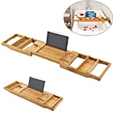 Aolvo Bathtub Caddy, Bamboo Luxury Bathtub Tray with Extending Sides, Adjustable Book and Wine Holder Tablet Cellphone Rack, Ecofriendly Natural Bathroom Organizer, Perfect Tray for Tub Accessories