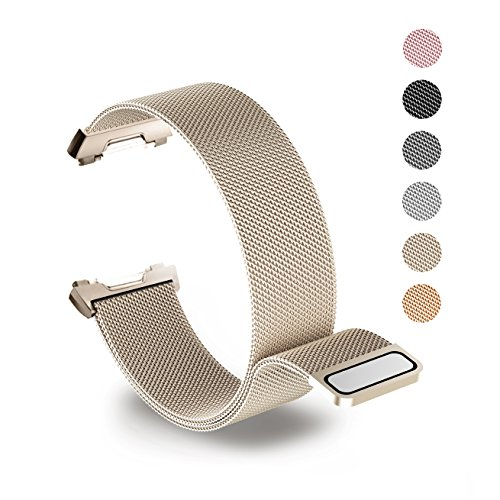 Tecson Magnetic Bands Compatible Fitbit Ionic, Stainless Steel Metal Milanese Loop Replacement Strap with Magnet Lock for Fitbit Ionic Smartwatch, Champagne Gold
