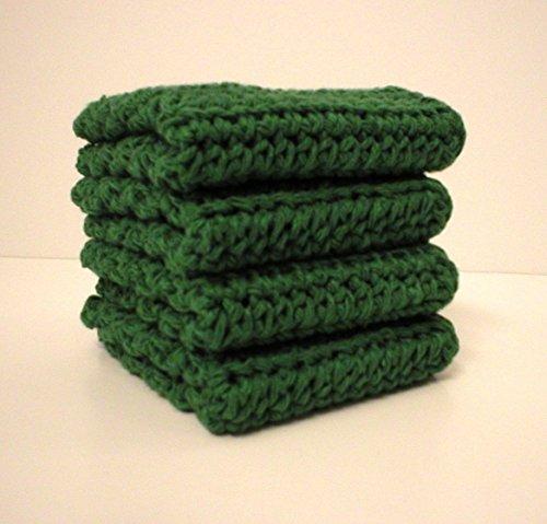 - Handmade Crochet Cotton Washcloths Dishcloths, Set of 4 Dark Green (Jalapeno Green)