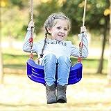 Beebeerun Kids Swing Swing Seat Chair Swing, Rigid Hard Kids Seat, Child Swing Indoor/Outdoor Play Swing Seat Children Backyard Swing with Ropes & Chains (Blue)